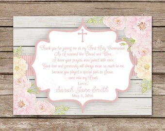 First Communion Thank You Card, Digital File, You Print