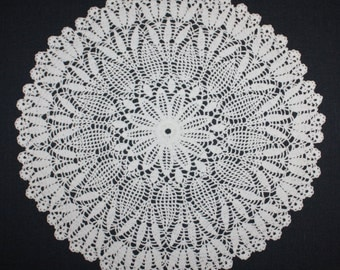 White Crochet Doily Round Lace Doily Pineapple Doily Cotton Crochet Centerpiece 14 inches