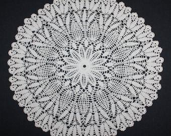 White Crochet Doily Round Lace Doily Pineapple Doily Cotton Crochet Centerpiece 14 inches