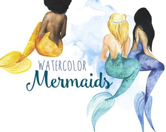 Watercolor Mermaid clipart, Mermaids clip art, Fantasy mermaid illustration, Mermaid art, Digital Clipart, Water