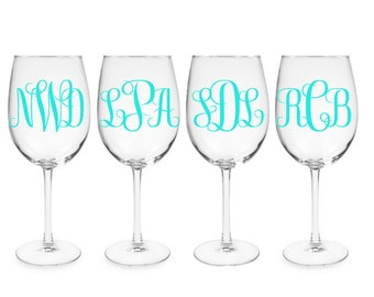 Set of 4  Monogrammed Wine Glasses