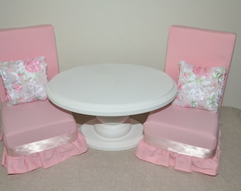 Pink/White American Girl Doll Furniture - 5-piece Dining Room Set -- 18 inch doll accessories and toys