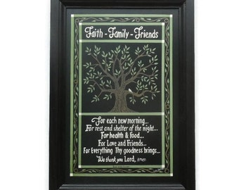 Primitive Home Decor, Faith Family Friends, Poem, Art Print, Wall Hanging, Handmade, 21 X 15, Custom Wood Frame, Made in the USA