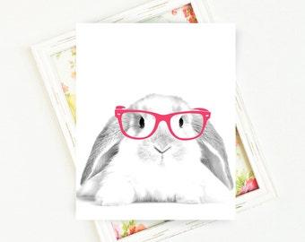 Bunnies in Glasses, Bunny Print, Bunny Art, Animal Printables, Bunny with Glasses, Bunny Printable, 8x10, PRINTABLE Art, Digital Download