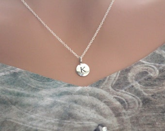 Sterling Silver Simple K Initial Necklace, Silver Stamped K Necklace, Stamped K Initial Necklace, Small K Initial Necklace, K Initial Charm