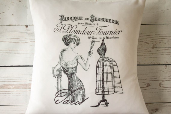 "French Corset - 16"" Cushion Pillow Cover French Shabby Vintage Chic - UK Handmade"