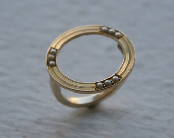Art Nouveau Circle Ring 14k Yellow Gold Conversion Ring - JL627