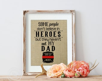 Firefighter Dad, Firefighter Gift from Daughter, Fireman Gift from Children, Gift for Firefighter Dad Firefighter Gift for Dad Thin Red Line