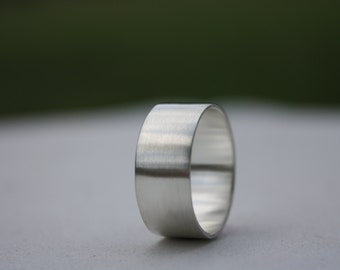 Wide Silver Ring, Men's Silver Ring, Wedding Band, Unisex Ring, Mens Argentium Ring, Brushed finish Silver Ring