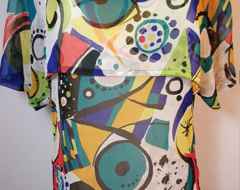 FREE  SHIPPING   1960 Psychedelic Mod Tunic Blouse