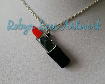 Double Layer Laser Cut Red Lipstick Acrylic Necklace on Silver or Gold Crossed Chain or Black Faux Suede Cord, Make Up