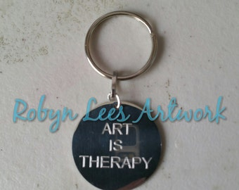 Art is Therapy Engraved Stainless Steel Disc Keyring on Silver Split Ring, Artist