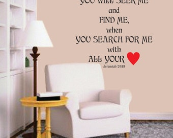 You will seek Me and find Me - Prayer Room Vinyl Wall Decal - Window Decals - Vinyl Wall Decals - Office - Living Room - Bedroom