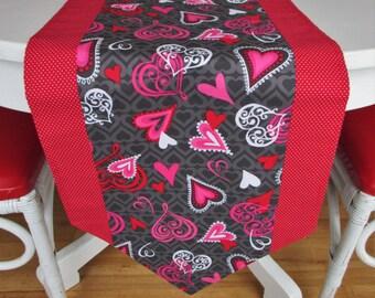 "Valentine's Day Table Runner, Handmade Hearts Table Runner, Heart Table Topper, 70"" Cotton Table Runner, Valentine Table Decor"