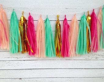 Birthday Tassel Garland Kit Birthday Banner, Birthday Garland, Bachelorette Garland, Fringe Tissue Paper Banner, Mint Peach Tassel Garland,