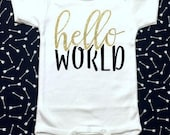 Hello World Bodysuit | New Baby Shirt | Hello World | Pregnancy Announcement | Baby Shower Gift | Southern Sweetheart Gifts