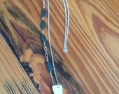 Deer Antler Chain Necklace with Teal Czech Beads