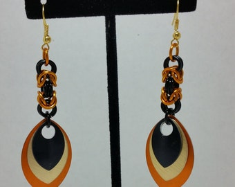 Black and Orange scale mail earrings