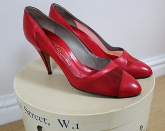 Gorgeous red leather heels russell & bromley 80s 90s shoes stilettos red leather shoes mesh detail shoes heels stilettos size 5 6 red shoes