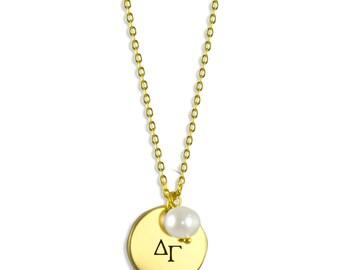 Delta Gamma Pearl Sorority Necklace / DG Pearl Necklace / Sorority Necklace / Sorority Gift / Big Little Gift / Sorority Jewelry