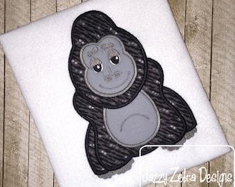 Gorilla Applique Embroidery Design - Gorilla applique design - monkey appliqué design - zoo applique design