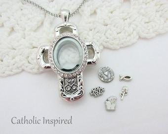 Cross Floating Locket - First Communion - Eucharist - Faith Jesus Living Oval Ornate Fleur-de-Lis Origami Owl Jewelry Necklace - Catholic
