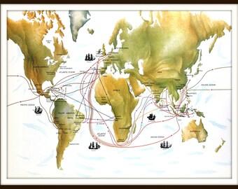 World Map, Large 10 x 13 Art Print, 16th Century European World Explorers, Vintage 1980s Book Plate Illustration, Ready to Frame
