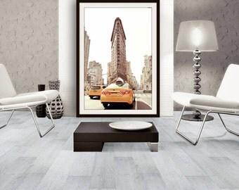 New York City Print, Flatiron Building, Yellow Cab, NYC Wall Art, NYC Print, Travel Photography, Large Wall Art, Fine Art Photography