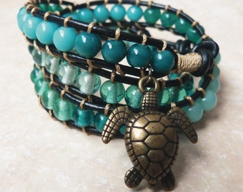 Sea Turtle Bracelet, Sea Turtle Jewelry, beachy jewelry, ocean jewelry, wrap bracelet, sea green bracelet