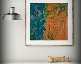 Blue Painting Abstract Fine Art Print from Original Oil Painting Abstract 8 x 8 - 48 x 48 / Extra Large Copper Wall Art Gift for Mom
