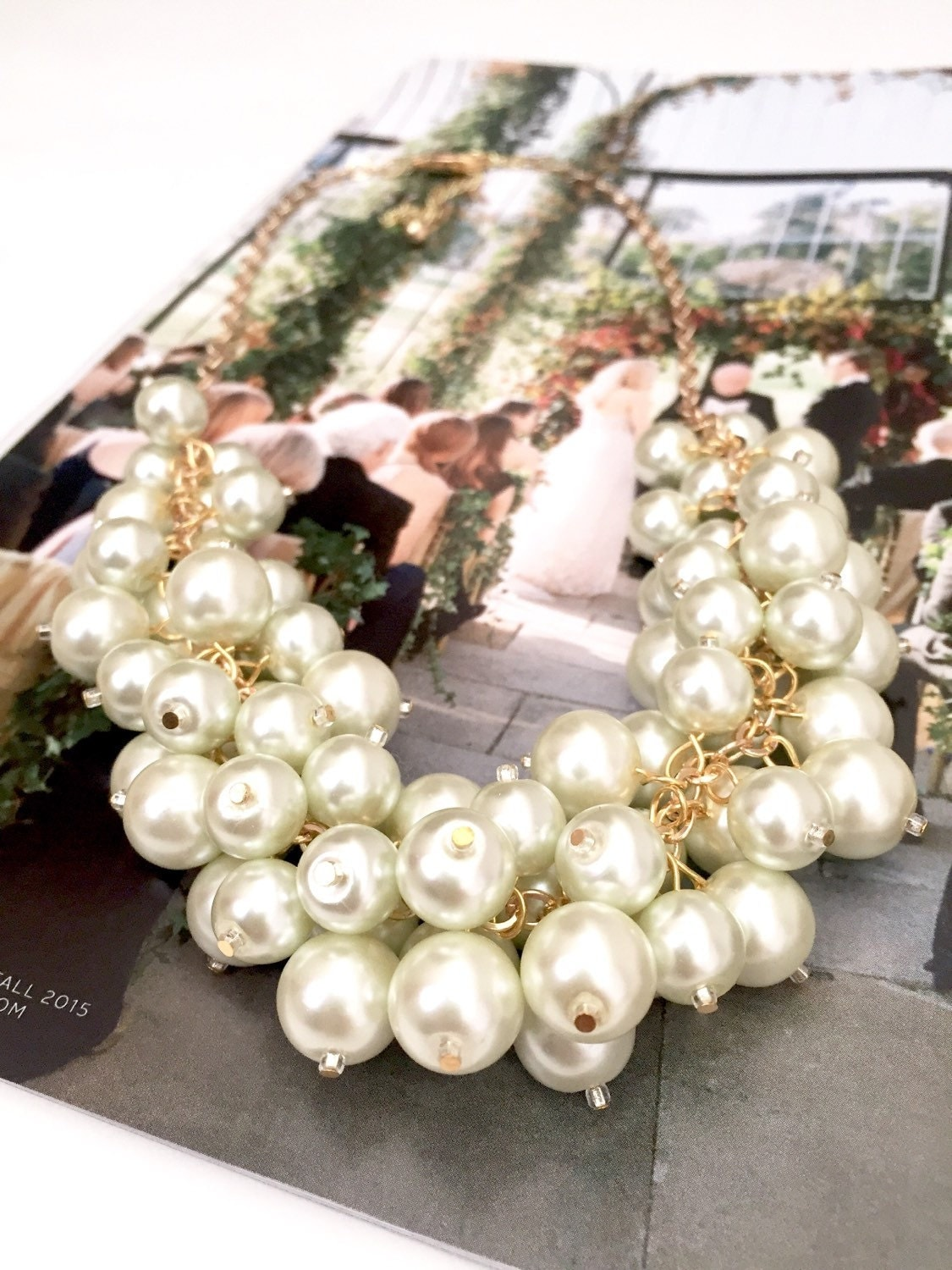 Ivory Pearl Statement Necklace With Gold Finish, Chunky Pearl Bib Necklace,  Pearl Cluster Necklace