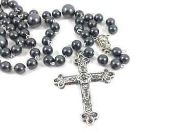 Dark Gray Glass Pearl Rosary; Grey Pearl Catholic Rosary with silver cross