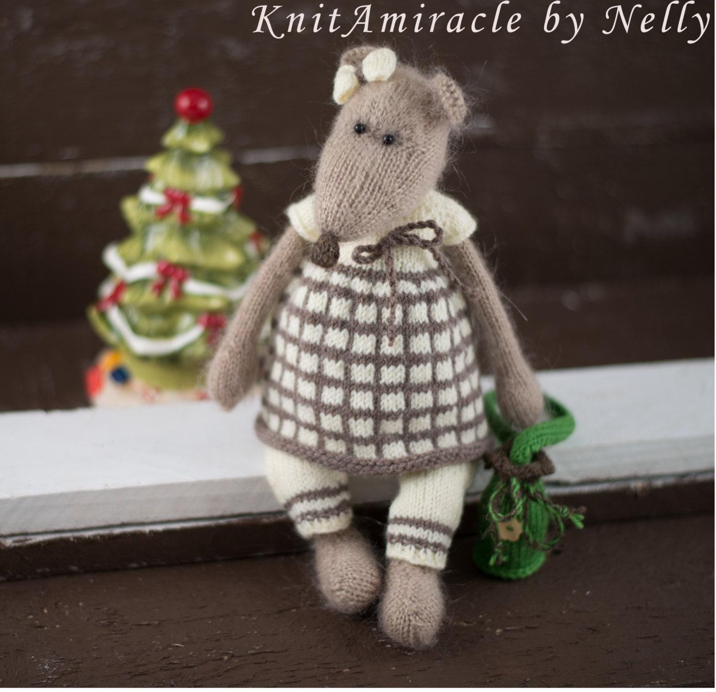 Toy mouse knitting pattern Knitted toy pattern PDF Knitting