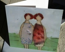 greeting card,  with white envelope, sisters or friendship card, two girls,  fine art greeting card, irish art, blank card, encaustic