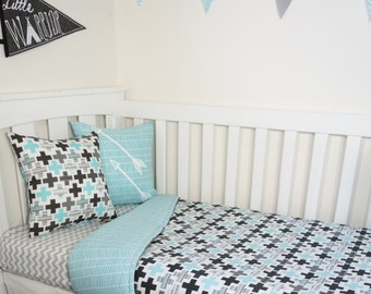 Black, grey and aqua crosses and herringbone nursery set