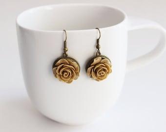 Beige Rose Dangle Earrings