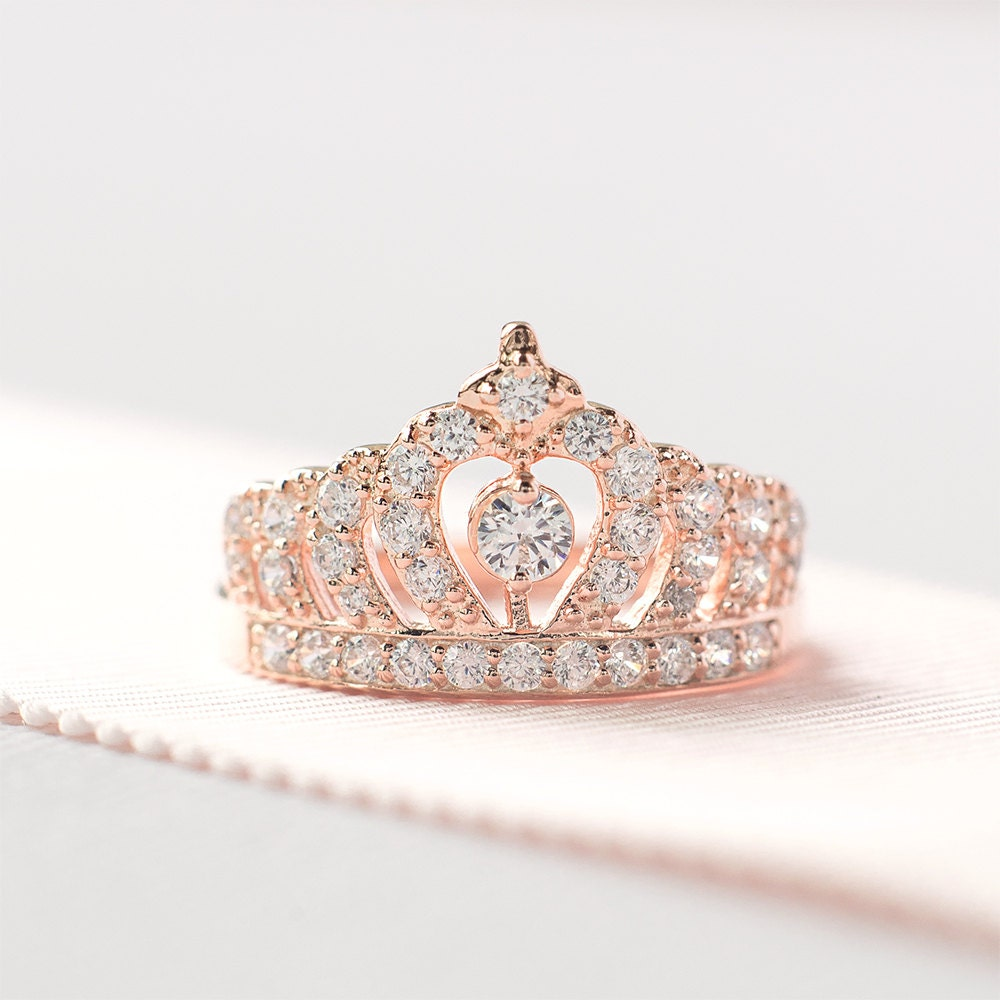 Rose Gold Crown Ring Princess Crown Ring Sterling Silver