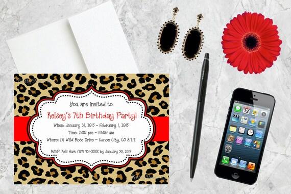 Birthday Invitations, Leopard Print Invitations, Cheetah Print, Animal Print, Party Invitations, Shower Invitations, Custom Invitations