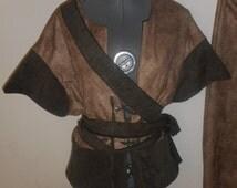 New mens 3 piece large tan brown original renaissance prince pirate pants vest wrap sash costume costumes