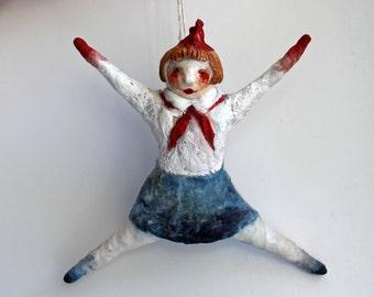 Art wadding Pioneer doll. Doll styled USSR, soviet PIONEER, OOAK Christmas tree decoration. Handmade wadding Art Doll. Pioneer Doll.