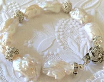 Bridal Pearl Bracelet,Beautiful Baroque Freshwater Pearls,AAA Swarovski Rhinestone Rondelles,CustomFit,STERLING SILVER,Rose Gold or Gold