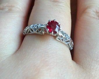 Natural Red Ruby Wedding Ring, Engagement Rings, Bridal Ring, Natural Ruby Ring, Solitaire Ring, July birthstone ring, Anniversary ring