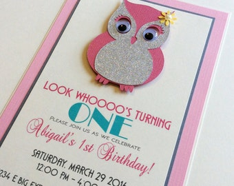 Owl Invitation - Owl Birthday Invitation - Owl Handmade Invitation - First Birthday Invitation