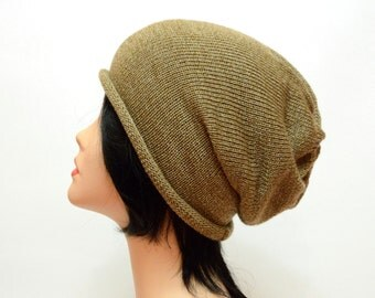 tan slouchy hat, boyfriend gift, mens hat, tan knit hat, mens gift, mens slouchy beanie, womens slouchy hat, womens gift, beige beanie