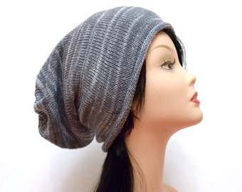 white grey slouchy hat mens hat boyfriend gift for him Slouchy Beanie hat Knitted Hat beanie womens hat girlfriend gift for her