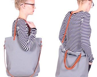"""Canvas bag """"Greta"""" grey / / gray white striped with leather handles"""