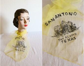 Sheer Nylon Scarf · San Antonio Alamo Texas · 1950s Vintage Tourist Souvenir