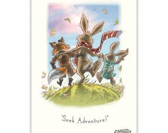Rabbit Print - Nursery Art - Rabbit - Fox - Baby Room - Kids Prints - Nursery Decor - Kids Room Decor - Wall Art - Baby Gift - Baby Shower