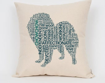"""Chow Chow 16"""" Pillow / Choose Your Colors! / Insert Included / Dog Breed Pillow, Dog Lover Gift, Pet Pillow, Dog Art, Dog Mom, Pet Lover"""