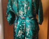 Vintage Silk Brocade Chinese Kimono Wrap Robe Emerald Green Dragon Design OSFM